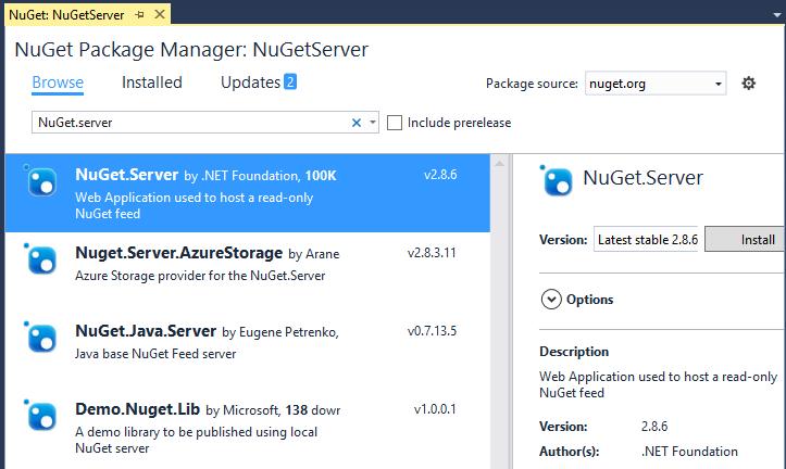install local nuget server